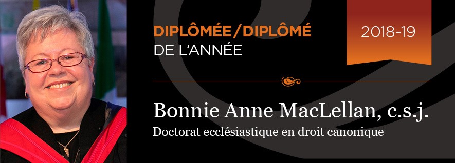 Sœur Bonnie MacLellan, Diplômée de l'année 2018-2019 de l'Université Saint-Paul