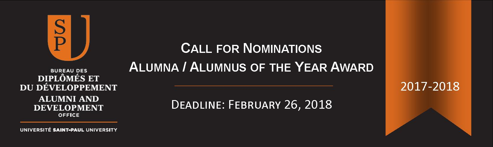 Call for Nominations  2017-2018 Alumna / Alumnus of the Year Award