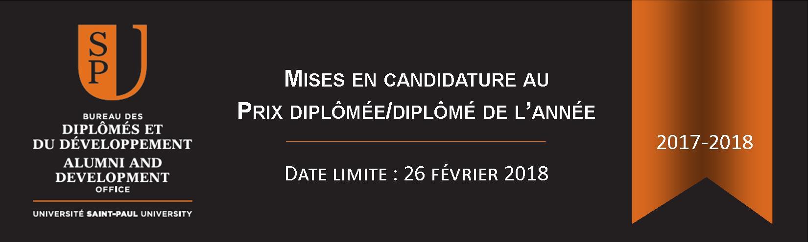 Mises en candidature au Prix diplômée/diplômé de l'année 2017-2018