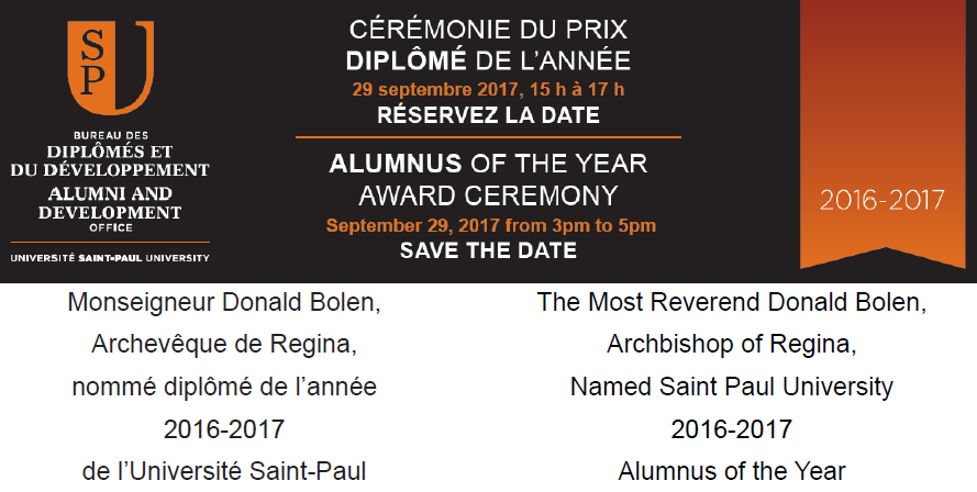Archbishop Donald Bolen Named Saint Paul University 2016-2017 Alumnus of the Year