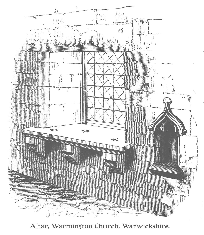 """Dessin en noir et blanc d'une fenêtre avec les mots « Altar, Warmington Church, Warwickshire » // Black and white drawing of a window with the words """"Altar, Warmington Church, Warwickshire""""."""