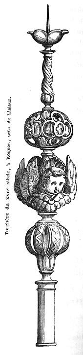 Dessin en noir et blanc d'une torchère du 18e siècle // Drawing of an 18th Century Torch