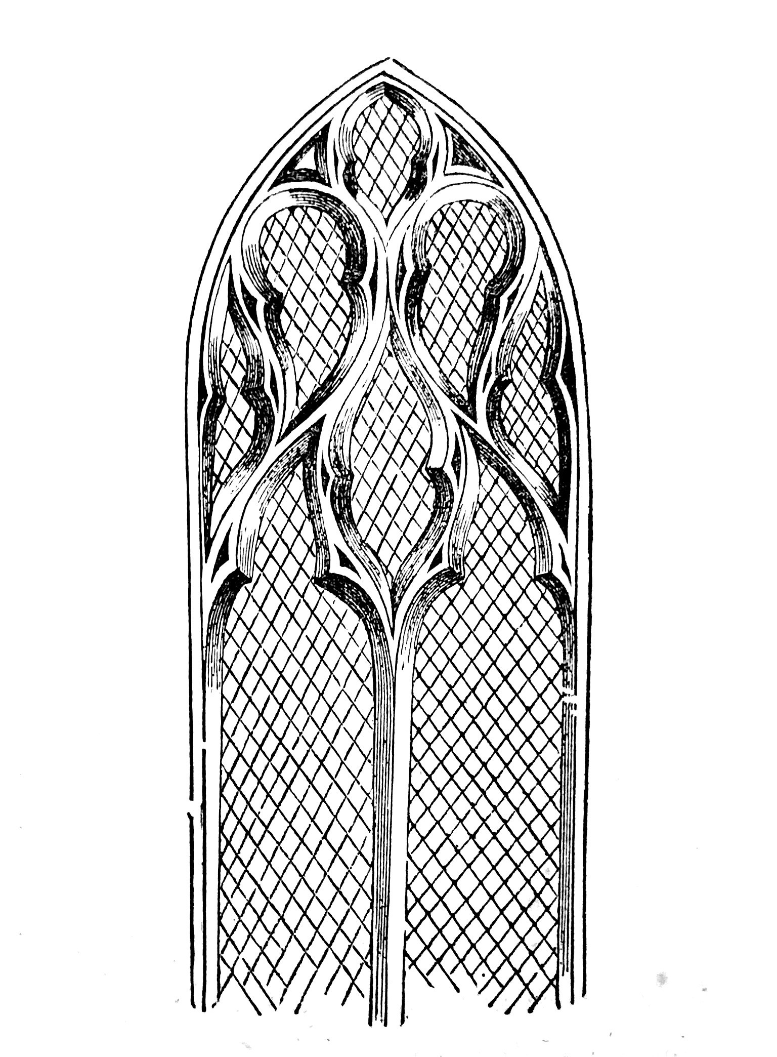 Dessin en noir et blanc d'une fenêtre. // Black and white drawing of a window.