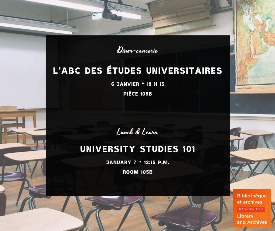 Annonce du dîner-causerie / Ad for Lunch & Learn