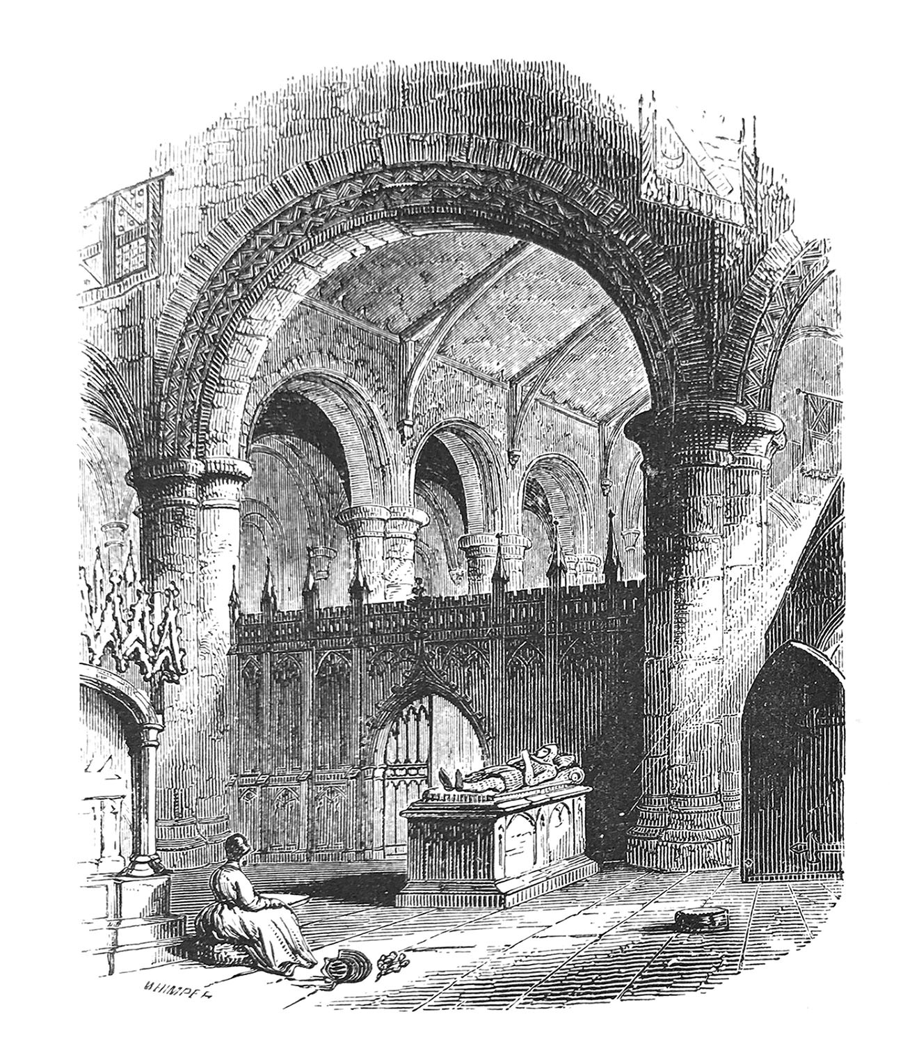 Dessin en noir et blanc d'une femme assise à l'intérieur d'une église. / Black and white drawing of a woman sitting inside a church.