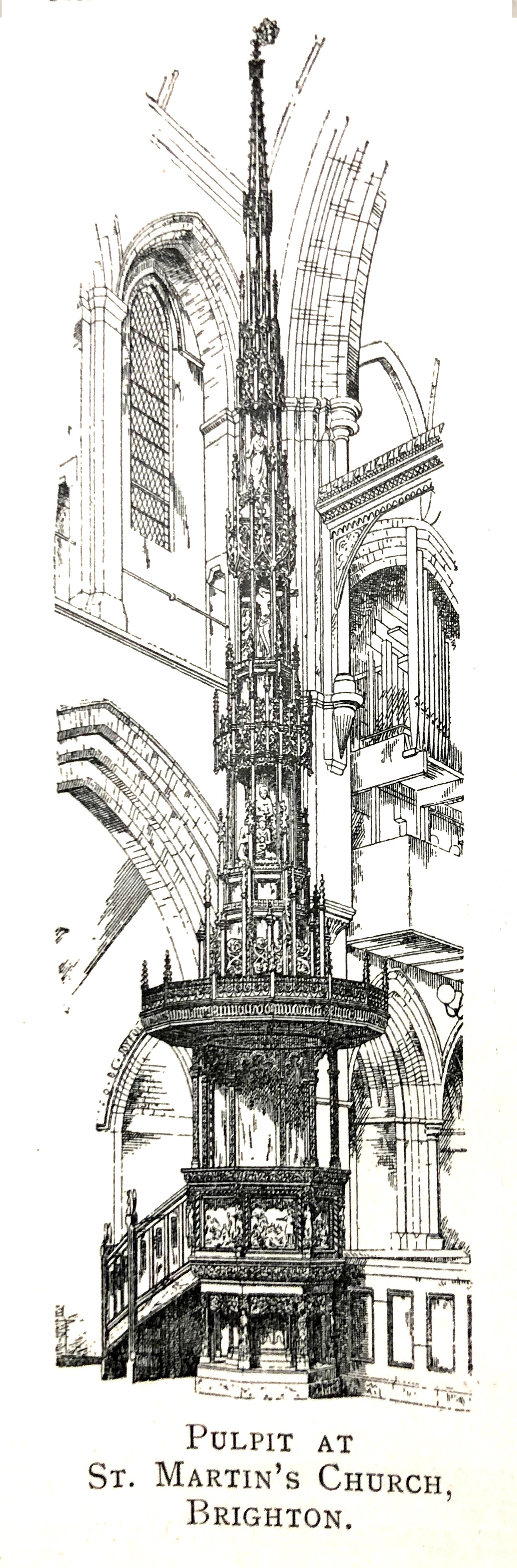Dessin en noir et blanc de la chaire de l'église St. Martin, en Angleterre. // Black and white drawing of the St. Martin's Church pulpit in England.