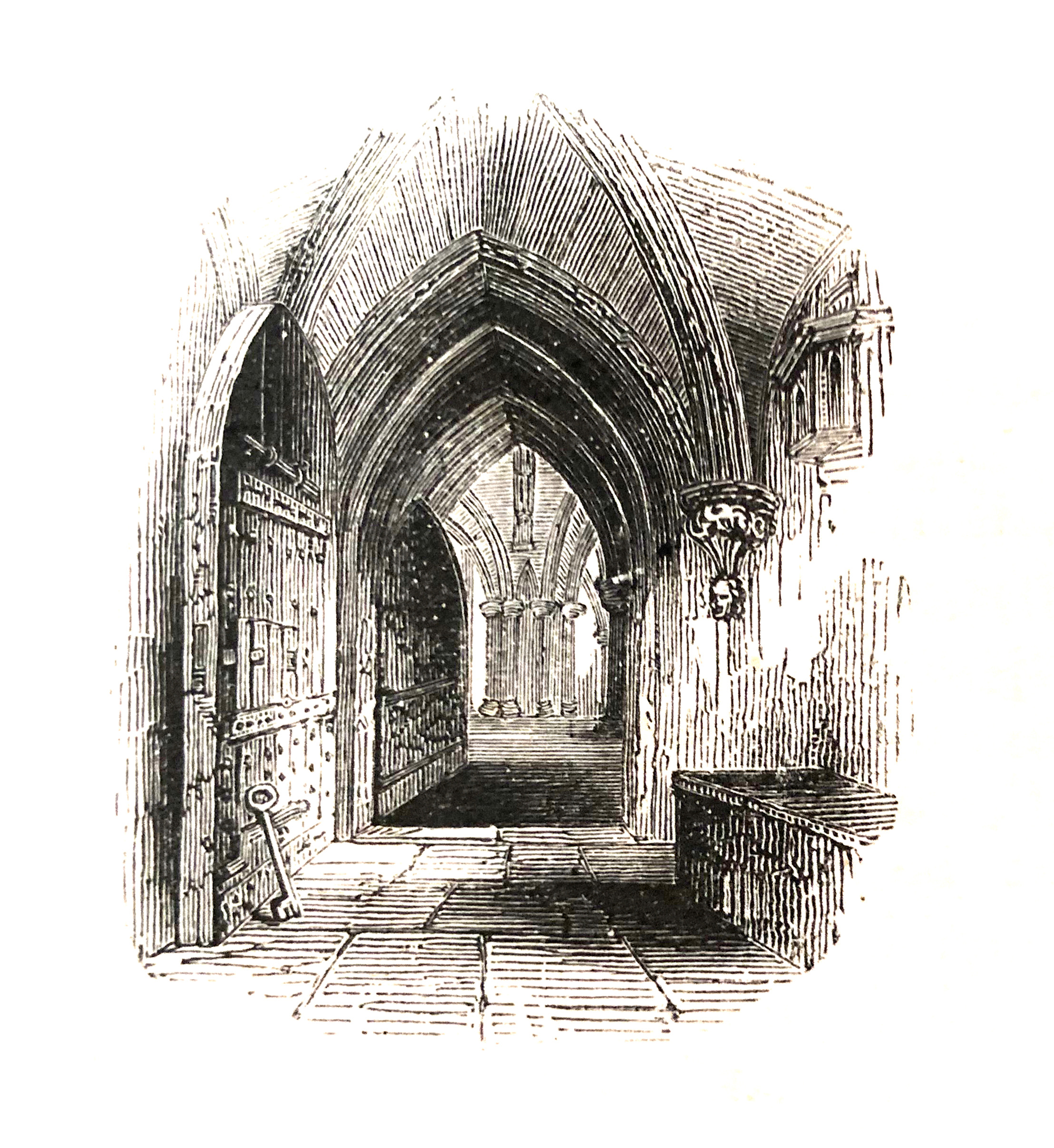 Dessin en noir et blanc d'une porte d'église. // Black and white drawing of a church door.