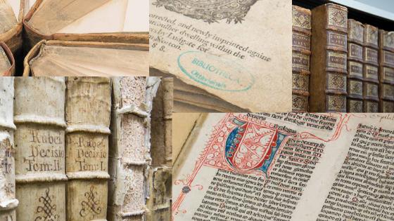 Reliures, couvertures et pages des livres rares de la bibliothèque. / Book spines, cover pages and content pages from the library's rare books.