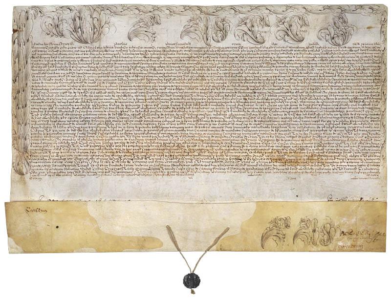 Bulle du pape Clément XI nommant Louis-François Duplessis de Mornay, capucin, évêque d'Euménie et coadjuteur de Québec, 4 mars 1713. Original conservé à Bibliothèque et Archives Canada (Mikan 98572)
