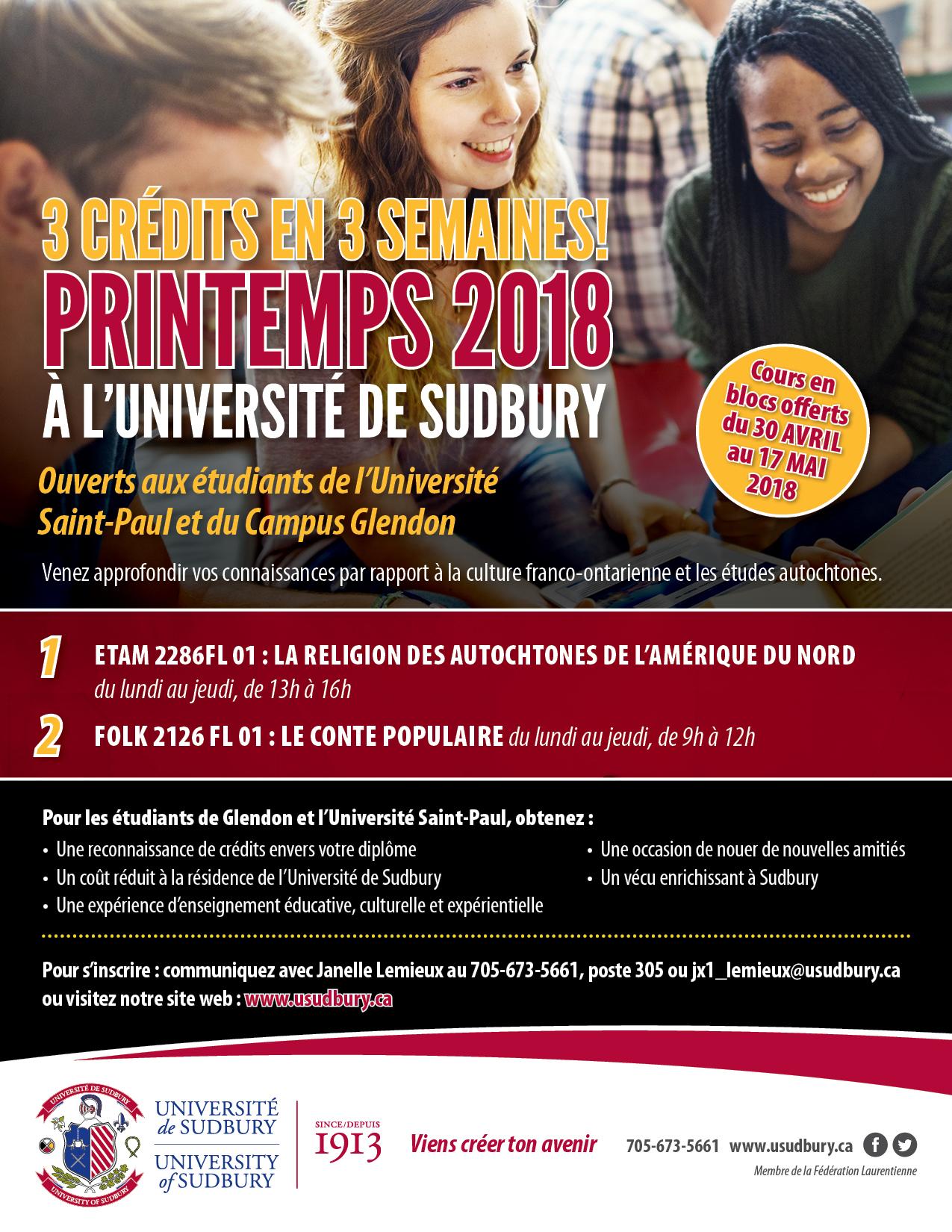 3 crédits en 3 semaines à l'Université de Sudbury