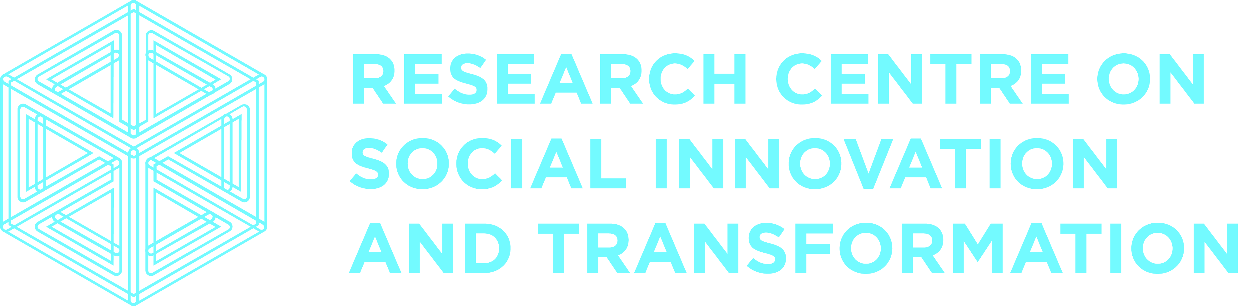 Logo, light blue, cubic form made of multiple lines. Name of research group underneath
